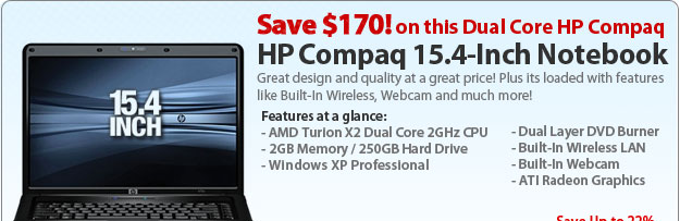 "HP Compaq 6735s Laptop Computer KS118UT - AMD Turion X2 Dual-Core RM-70 2.0GHz, 2GB DDR2, 250GB HDD, DL DVDRW, 15.4"" WXGA, Microsoft® Windows® XP Pro, Black"