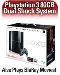 Sony PLAYSTATION 3 80GB System (PS3) - DUALSHOCK 3 controller, Blu-ray DVD Player, HDMI, Bluetooth, USB 2.0, Ethernet, WiFi